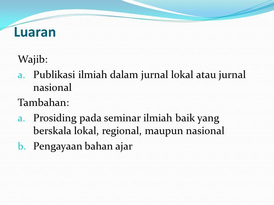 Luaran Wajib: Publikasi ilmiah dalam jurnal lokal atau jurnal nasional