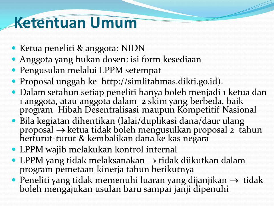 Ketentuan Umum Ketua peneliti & anggota: NIDN