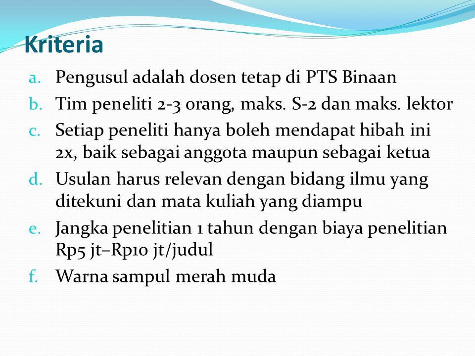 Kriteria Pengusul adalah dosen tetap di PTS Binaan