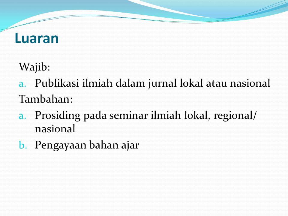 Luaran Wajib: Publikasi ilmiah dalam jurnal lokal atau nasional