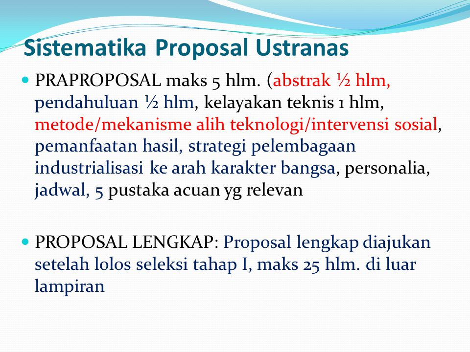 Sistematika Proposal Ustranas