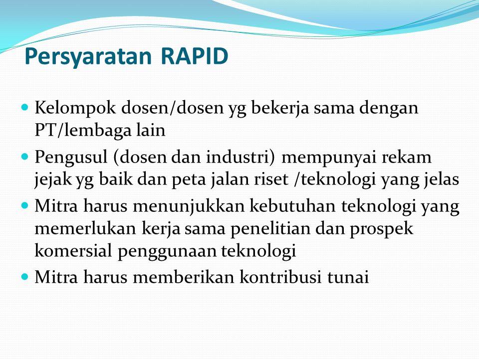 Persyaratan RAPID Kelompok dosen/dosen yg bekerja sama dengan PT/lembaga lain.
