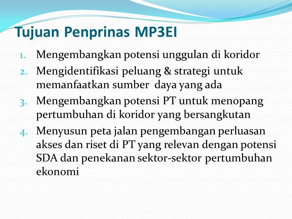 Tujuan Penprinas MP3EI Mengembangkan potensi unggulan di koridor