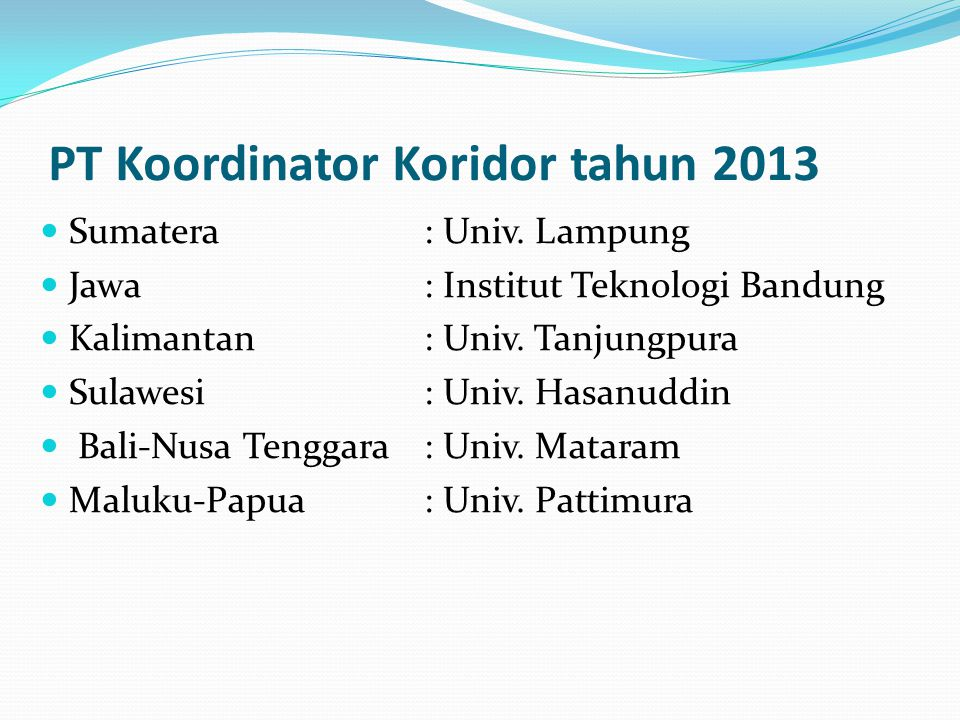 PT Koordinator Koridor tahun 2013