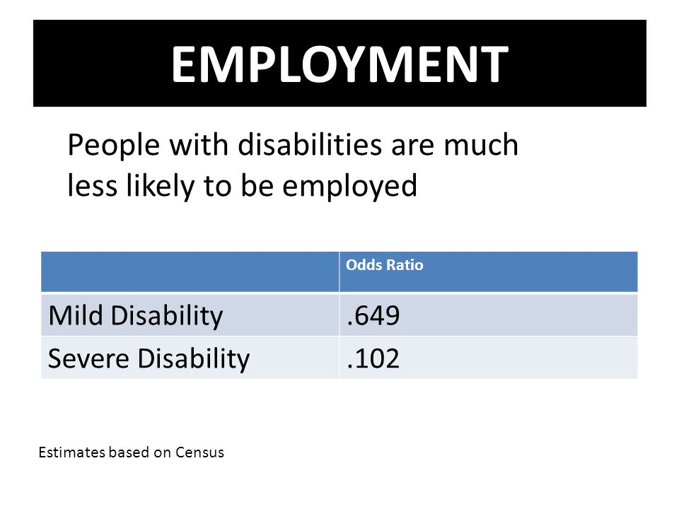 EMPLOYMENT People with disabilities are much less likely to be employed. Odds Ratio. Mild Disability.