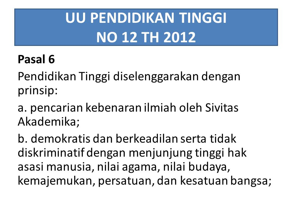 UU PENDIDIKAN TINGGI NO 12 TH 2012