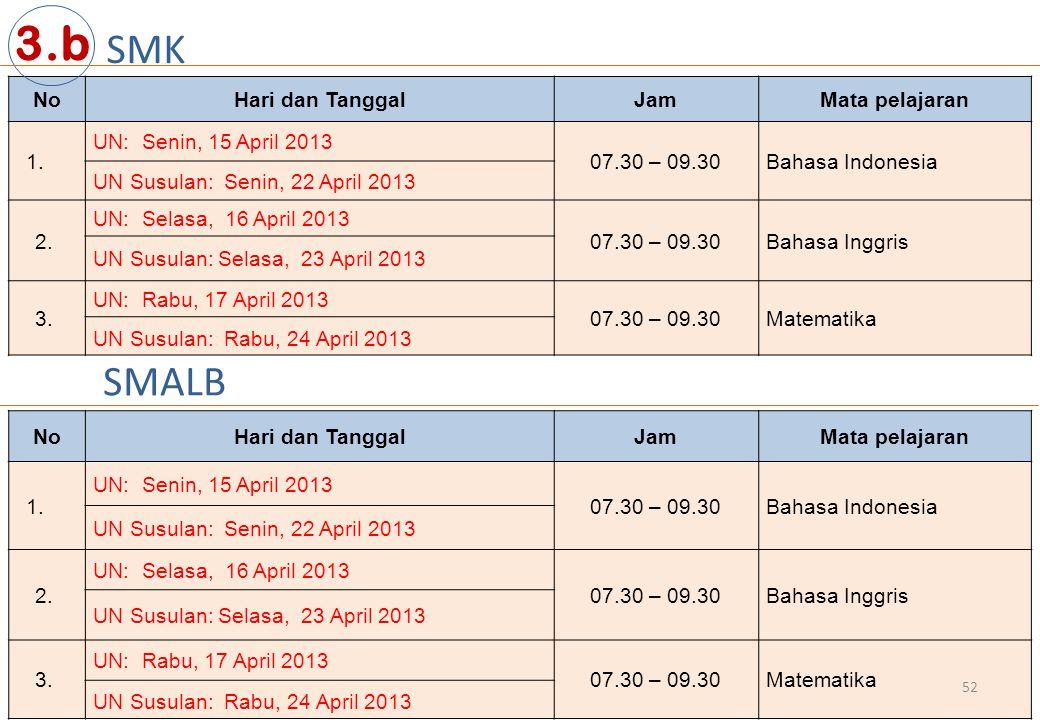 3.b SMK SMALB No Hari dan Tanggal Jam Mata pelajaran
