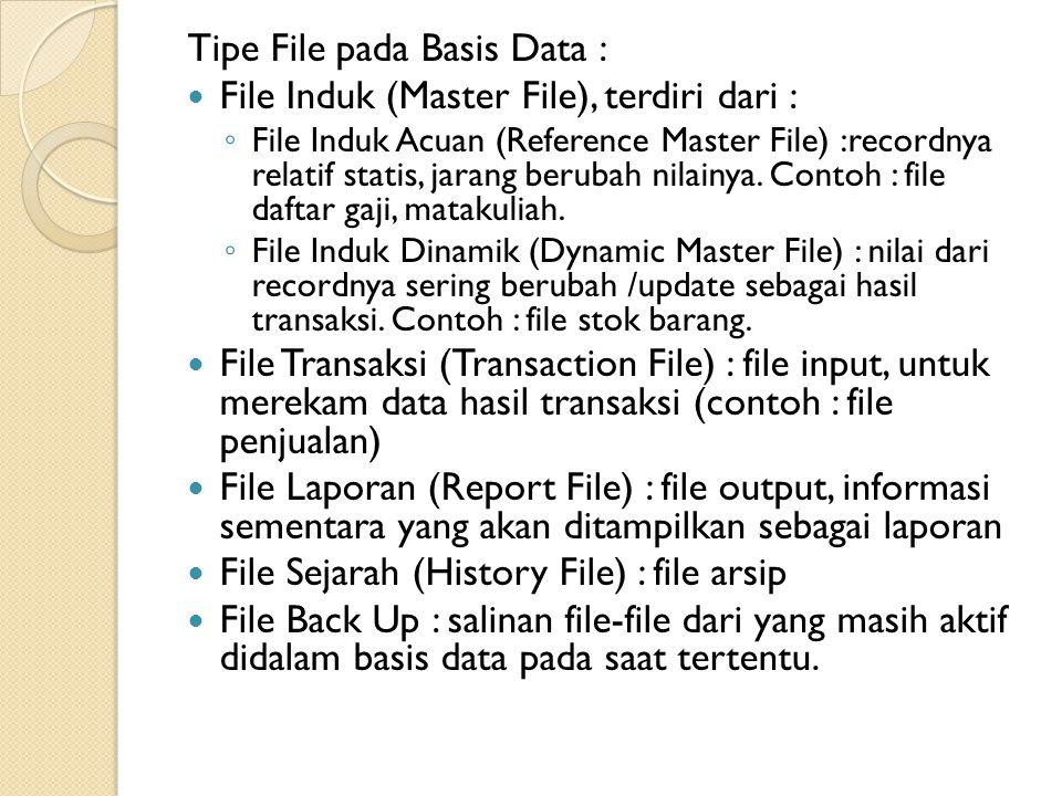 Tipe File pada Basis Data : File Induk (Master File), terdiri dari :