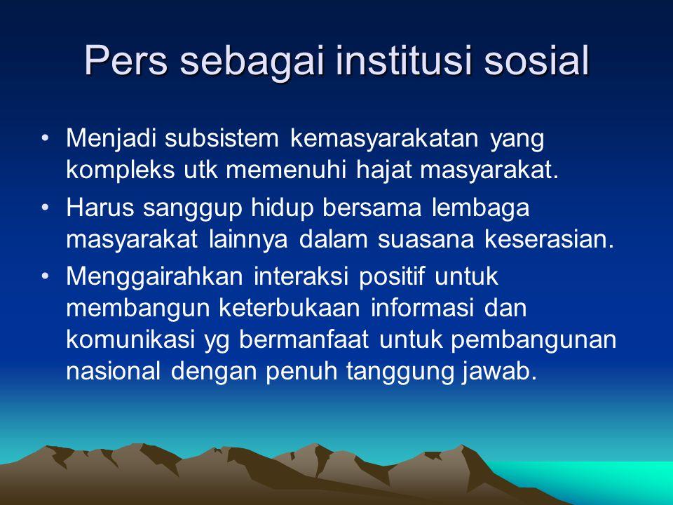 Pers sebagai institusi sosial