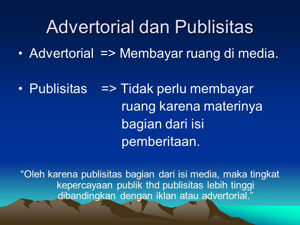 Advertorial dan Publisitas