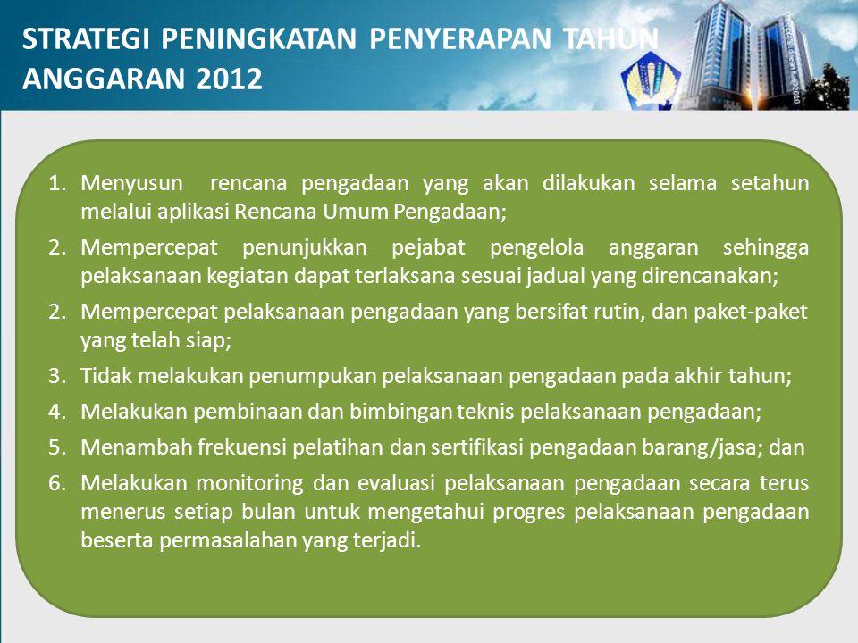 STRATEGI PENINGKATAN PENYERAPAN TAHUN ANGGARAN 2012