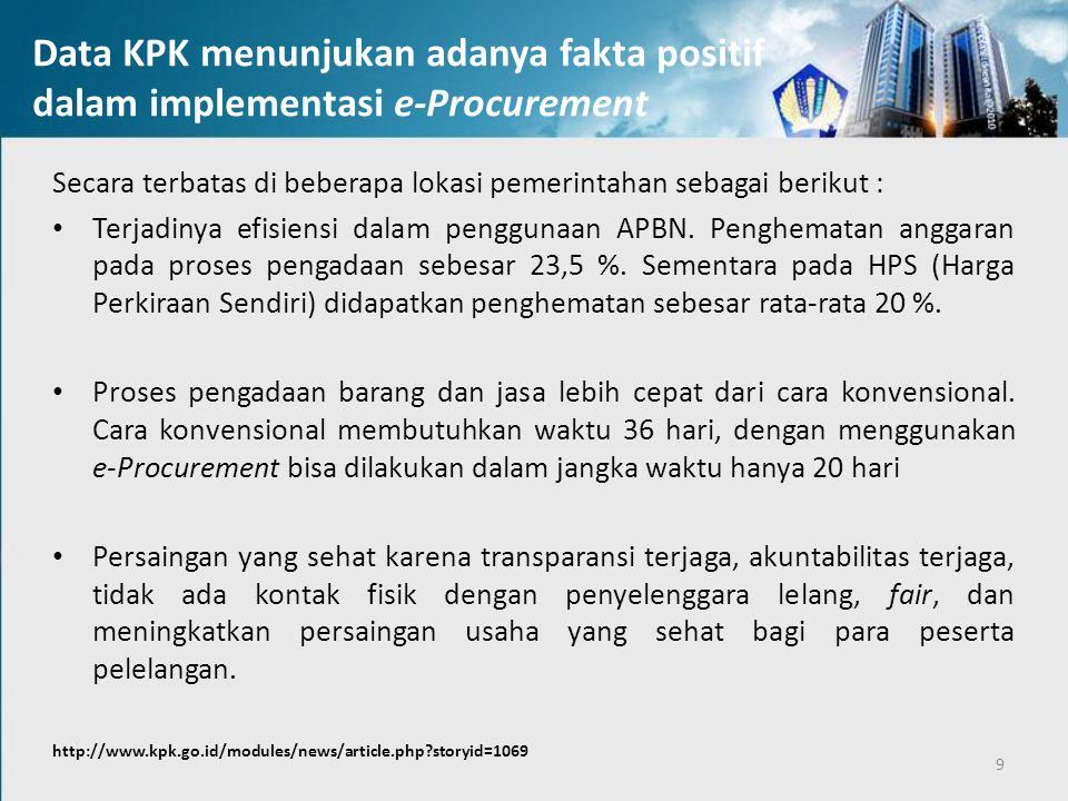 Data KPK menunjukan adanya fakta positif dalam implementasi e-Procurement