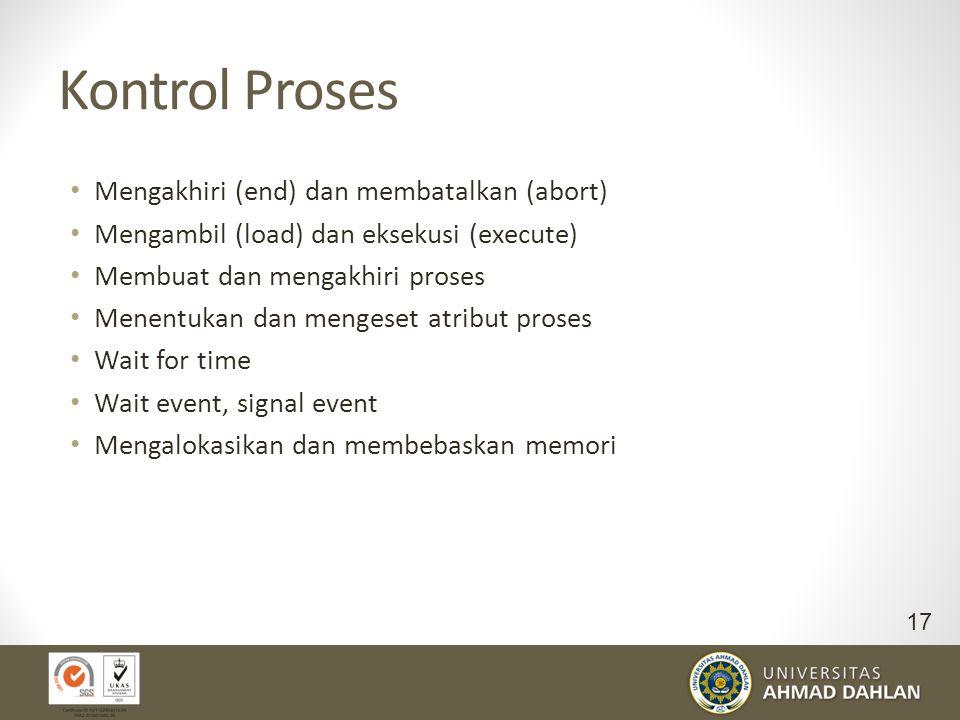 Kontrol Proses Mengakhiri (end) dan membatalkan (abort)