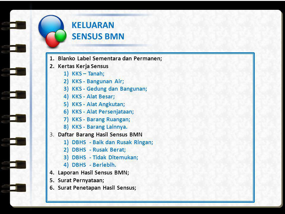 KELUARAN SENSUS BMN Blanko Label Sementara dan Permanen;