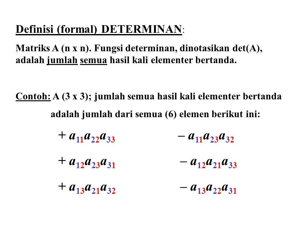 Definisi (formal) DETERMINAN: