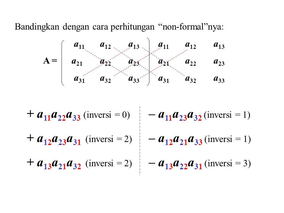 + a11a22a33 (inversi = 0) – a11a23a32 (inversi = 1)