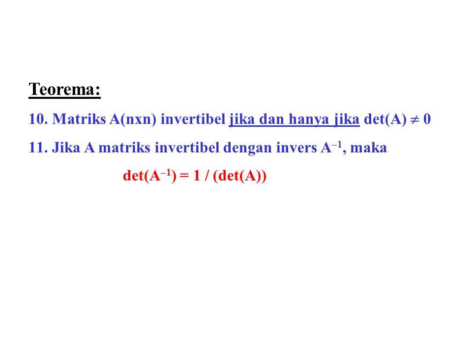 Teorema: Matriks A(nxn) invertibel jika dan hanya jika det(A)  0