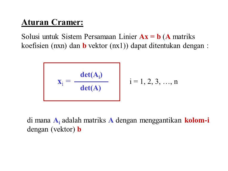 Aturan Cramer: Solusi untuk Sistem Persamaan Linier Ax = b (A matriks koefisien (nxn) dan b vektor (nx1)) dapat ditentukan dengan :