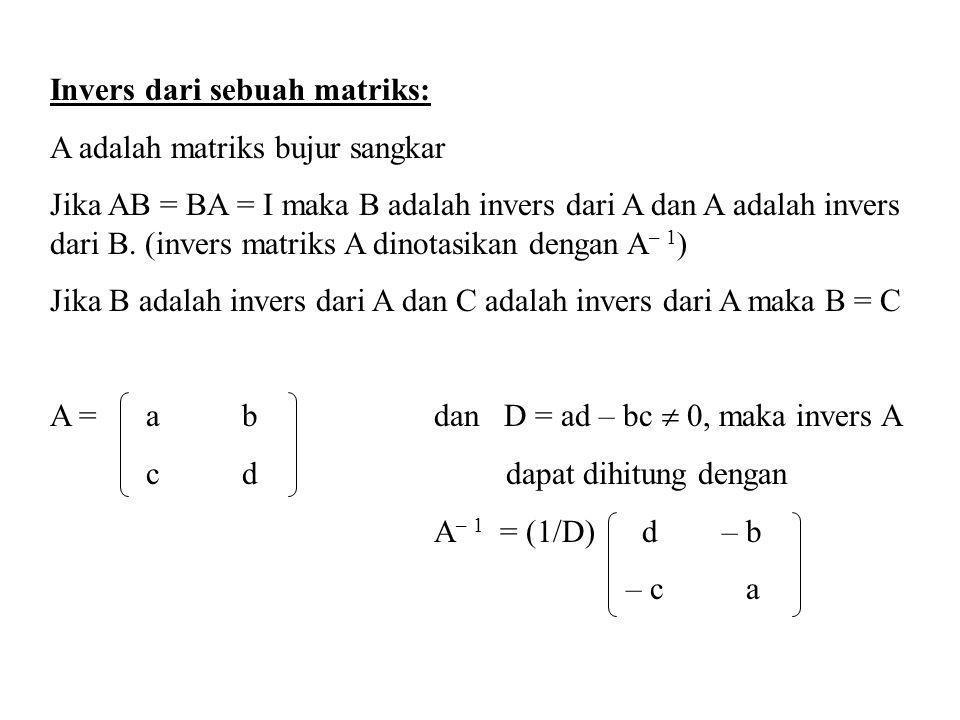 Invers dari sebuah matriks: