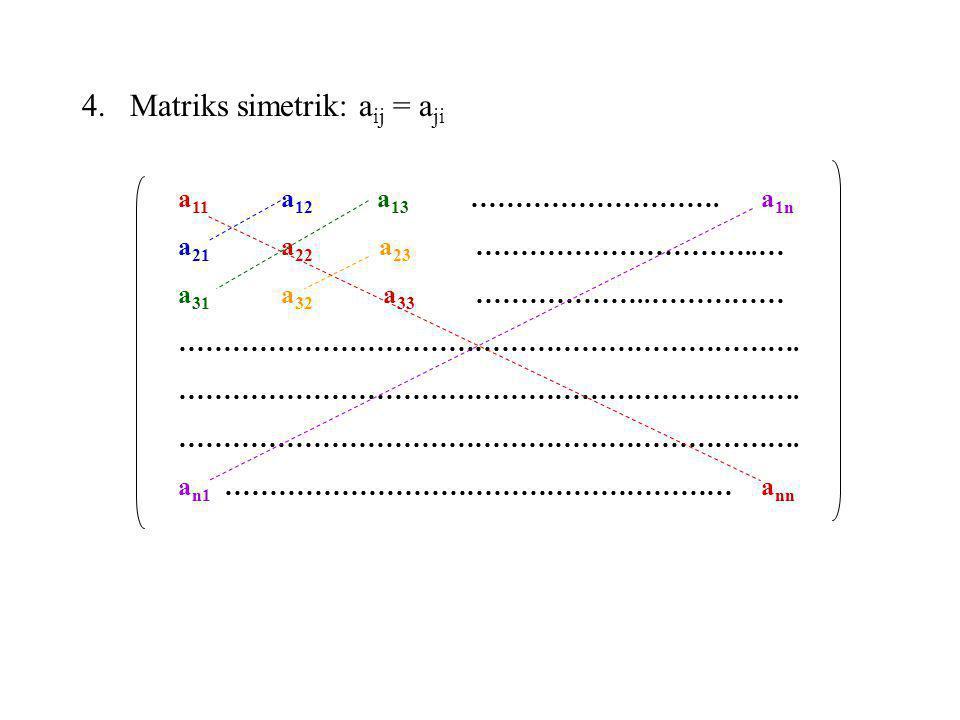 Matriks simetrik: aij = aji