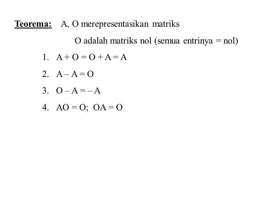 Teorema: A, O merepresentasikan matriks