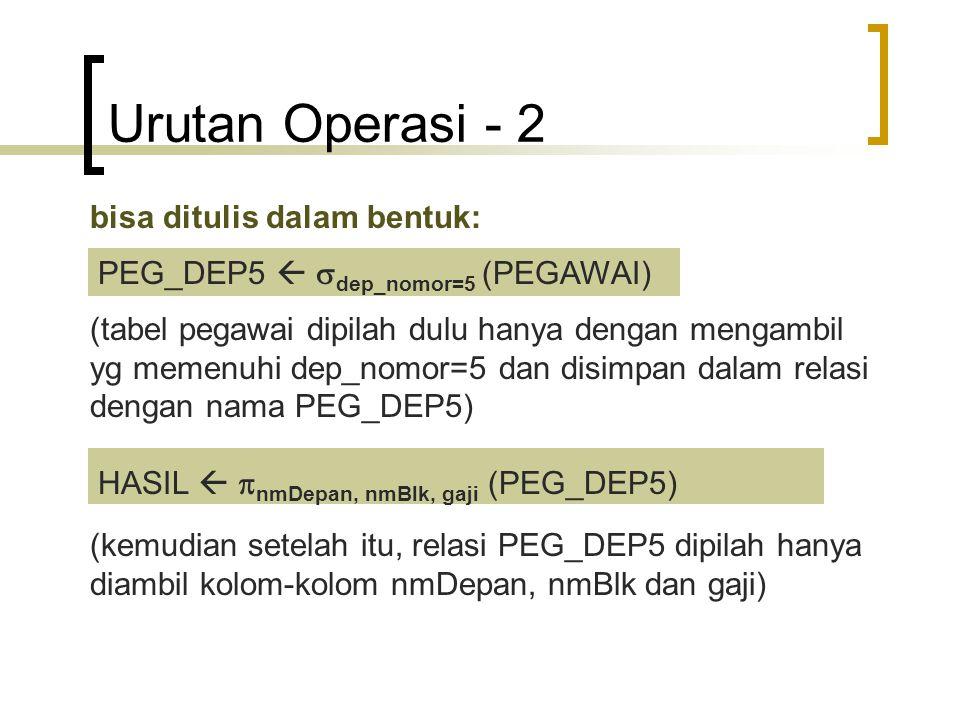 Urutan Operasi - 2 bisa ditulis dalam bentuk: