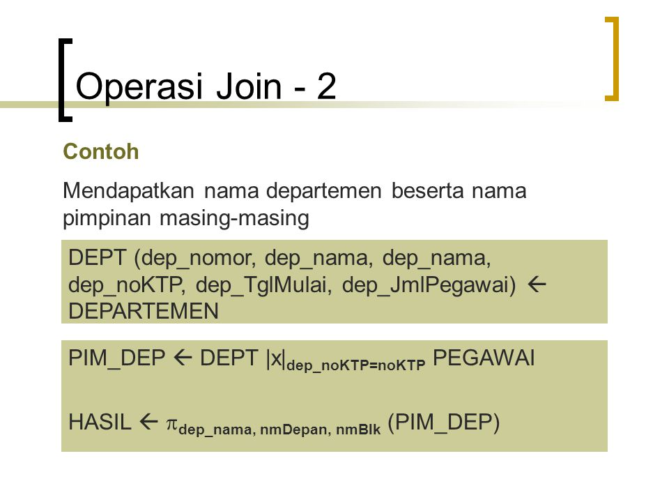 Operasi Join - 2 Contoh. Mendapatkan nama departemen beserta nama pimpinan masing-masing.