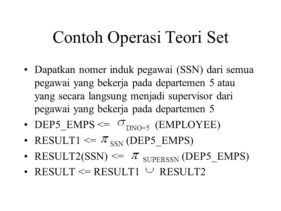 Contoh Operasi Teori Set