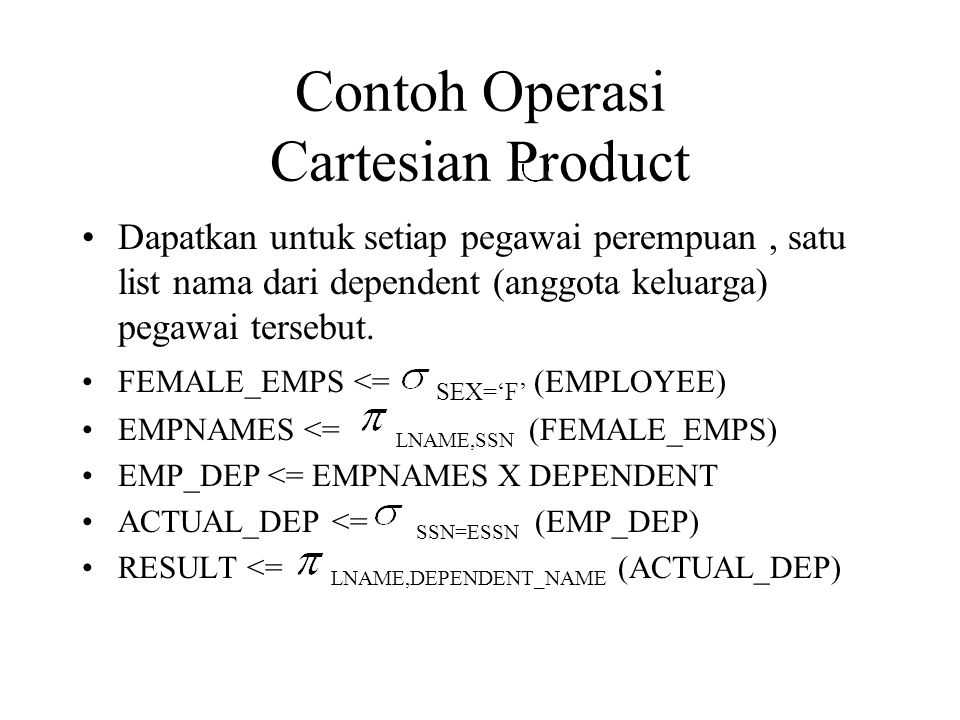 Contoh Operasi Cartesian Product