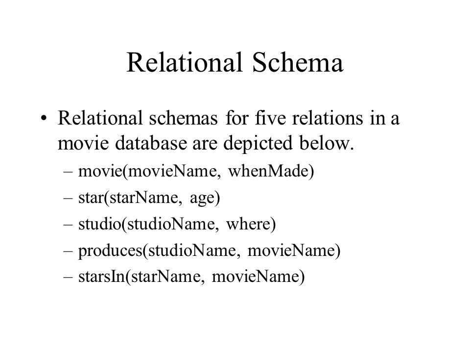 Relational Schema Relational schemas for five relations in a movie database are depicted below. movie(movieName, whenMade)