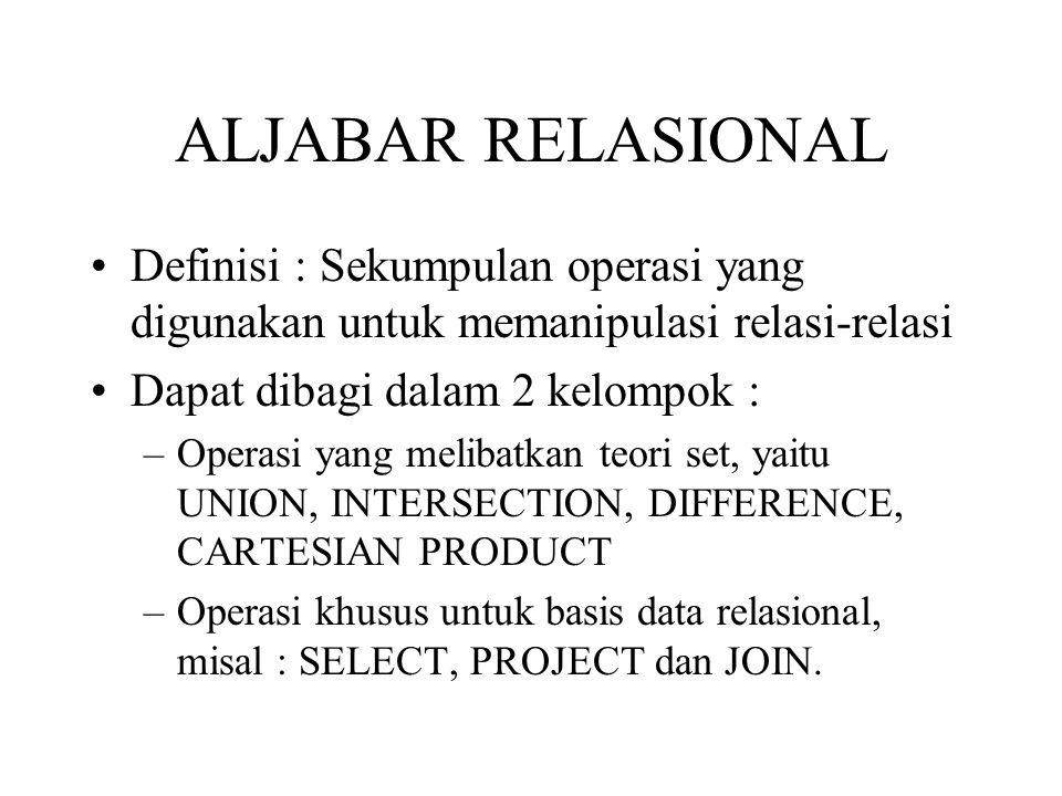 ALJABAR RELASIONAL Definisi : Sekumpulan operasi yang digunakan untuk memanipulasi relasi-relasi. Dapat dibagi dalam 2 kelompok :