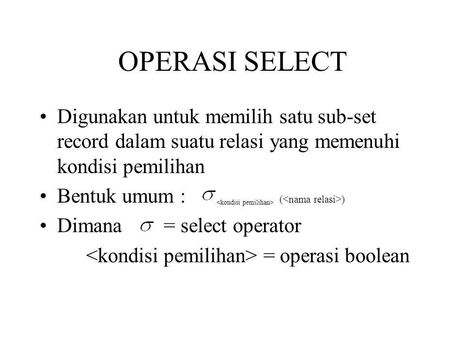 OPERASI SELECT Digunakan untuk memilih satu sub-set record dalam suatu relasi yang memenuhi kondisi pemilihan.