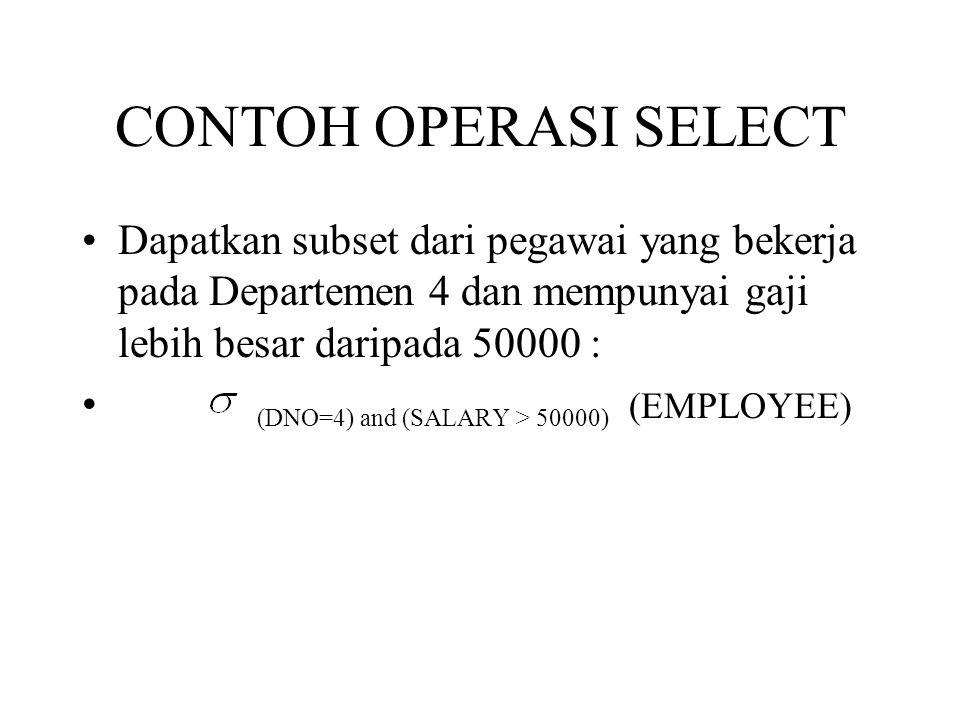 CONTOH OPERASI SELECT Dapatkan subset dari pegawai yang bekerja pada Departemen 4 dan mempunyai gaji lebih besar daripada 50000 :