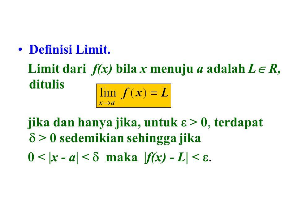 Definisi Limit. Limit dari f(x) bila x menuju a adalah L R, ditulis. jika dan hanya jika, untuk e > 0, terdapat d > 0 sedemikian sehingga jika.