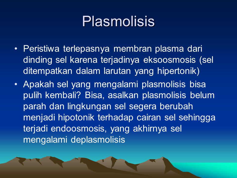 Plasmolisis Peristiwa terlepasnya membran plasma dari dinding sel karena terjadinya eksoosmosis (sel ditempatkan dalam larutan yang hipertonik)