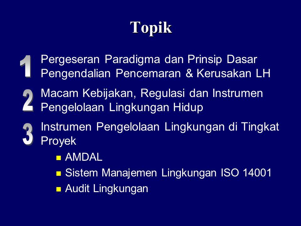 Topik Pergeseran Paradigma dan Prinsip Dasar Pengendalian Pencemaran & Kerusakan LH.