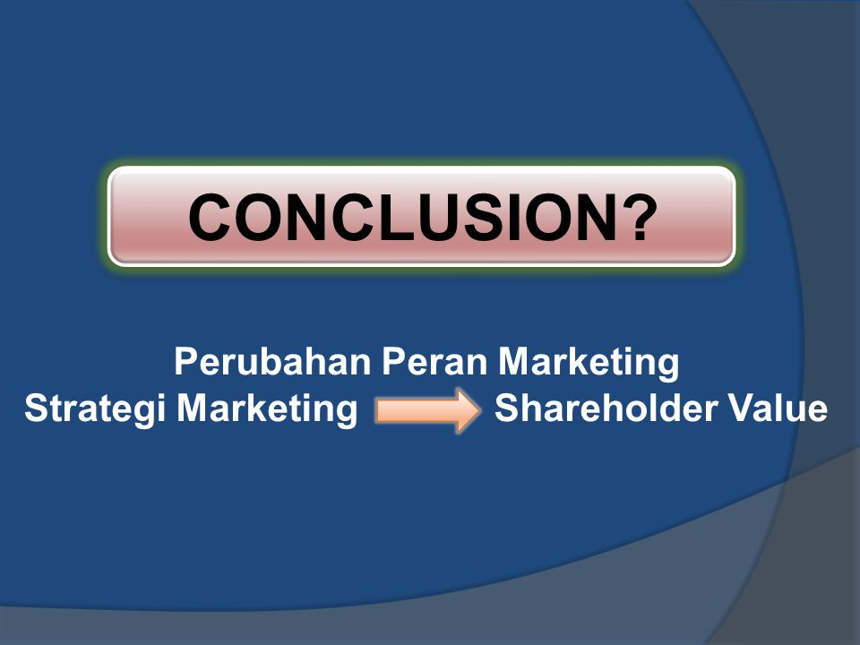 Perubahan Peran Marketing Strategi Marketing Shareholder Value