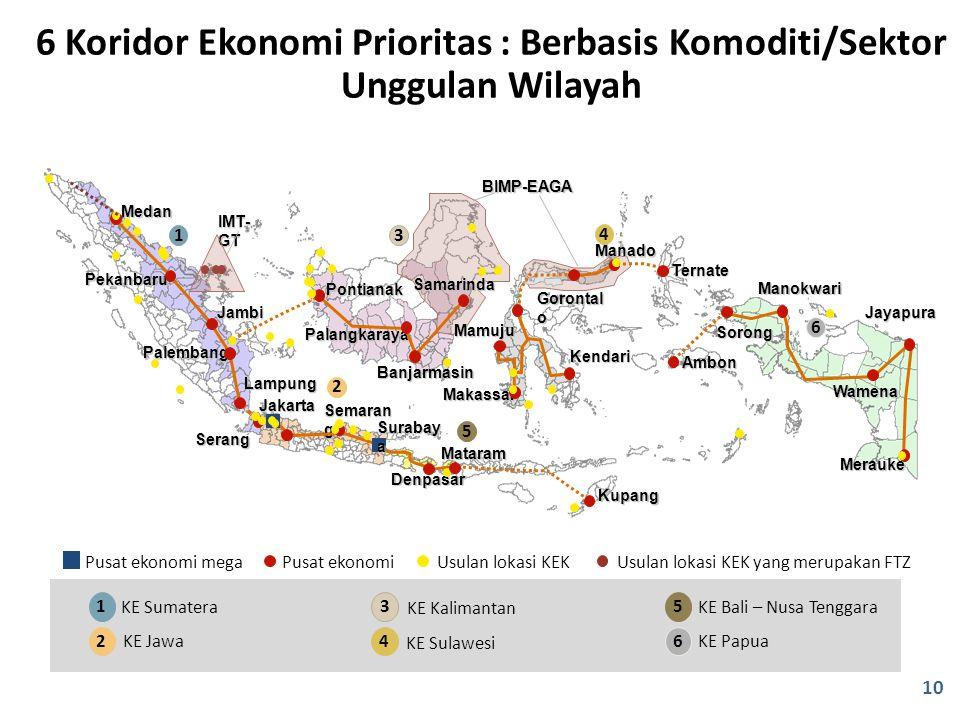 6 Koridor Ekonomi Prioritas : Berbasis Komoditi/Sektor Unggulan Wilayah