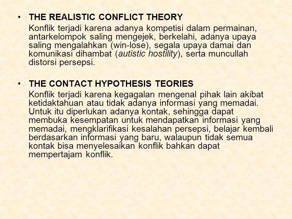 THE REALISTIC CONFLICT THEORY