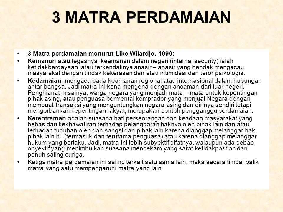 3 MATRA PERDAMAIAN 3 Matra perdamaian menurut Like Wilardjo, 1990: