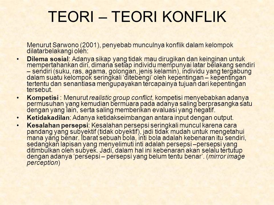 TEORI – TEORI KONFLIK Menurut Sarwono (2001), penyebab munculnya konflik dalam kelompok dilatarbelakangi oleh: