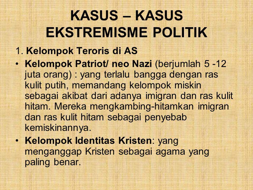 KASUS – KASUS EKSTREMISME POLITIK