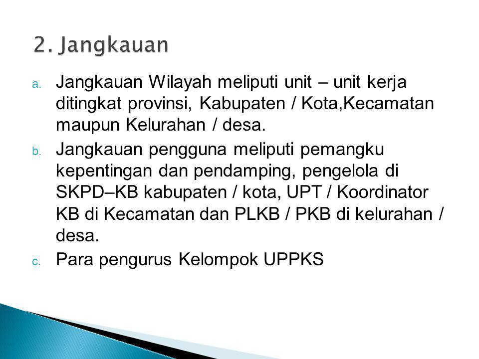 2. Jangkauan Jangkauan Wilayah meliputi unit – unit kerja ditingkat provinsi, Kabupaten / Kota,Kecamatan maupun Kelurahan / desa.