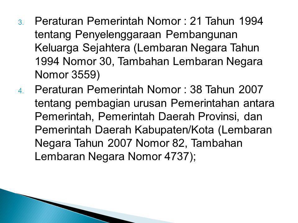 Peraturan Pemerintah Nomor : 21 Tahun 1994 tentang Penyelenggaraan Pembangunan Keluarga Sejahtera (Lembaran Negara Tahun 1994 Nomor 30, Tambahan Lembaran Negara Nomor 3559)