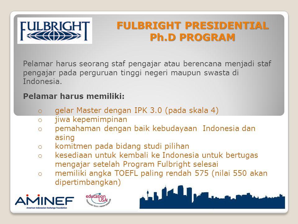 FULBRIGHT PRESIDENTIAL Ph.D PROGRAM