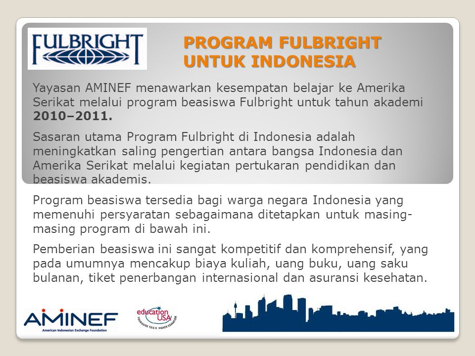 PROGRAM FULBRIGHT UNTUK INDONESIA