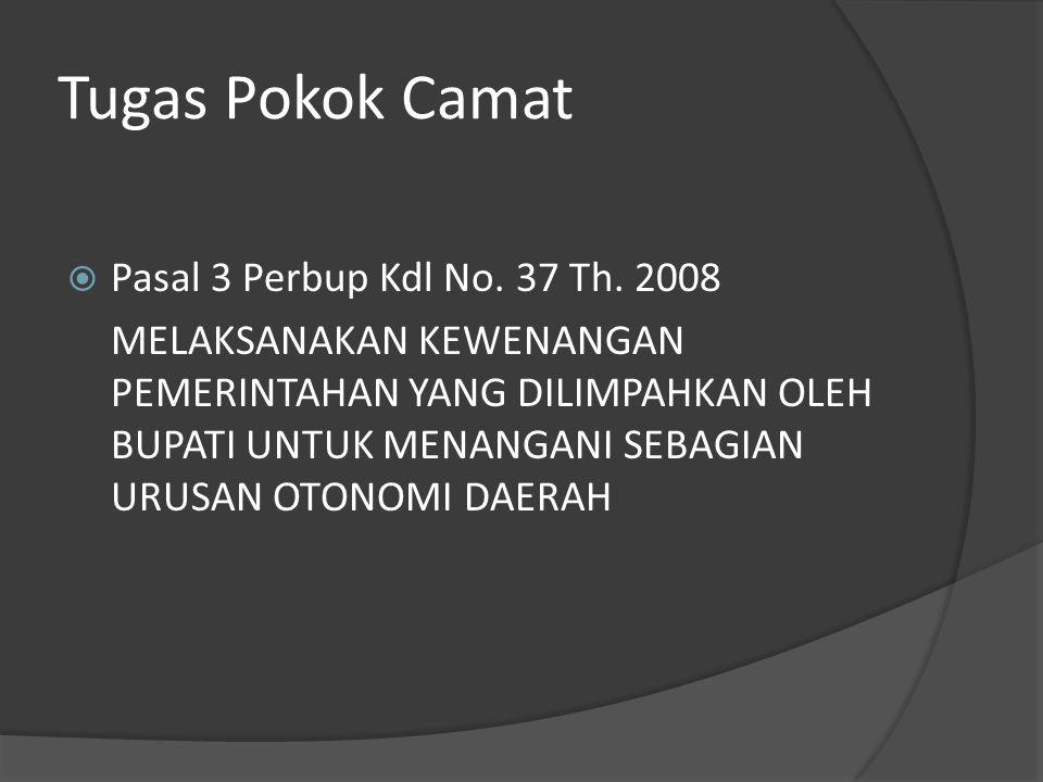 Tugas Pokok Camat Pasal 3 Perbup Kdl No. 37 Th. 2008