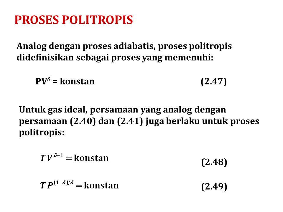 PROSES POLITROPIS Analog dengan proses adiabatis, proses politropis didefinisikan sebagai proses yang memenuhi: