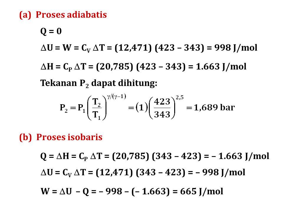 (a) Proses adiabatis Q = 0. U = W = CV T = (12,471) (423 – 343) = 998 J/mol. H = CP T = (20,785) (423 – 343) = 1.663 J/mol.