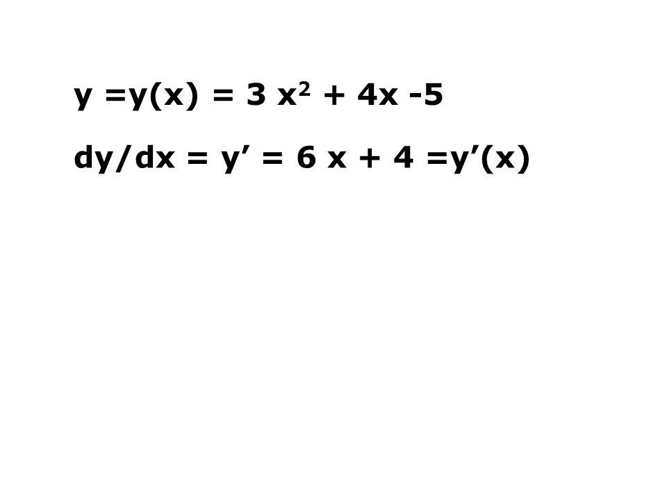 y =y(x) = 3 x2 + 4x -5 dy/dx = y' = 6 x + 4 =y'(x)